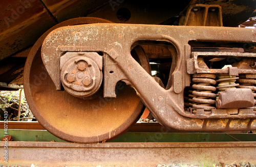 Old rusty train wheels