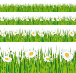 Green grass banners with daisies.
