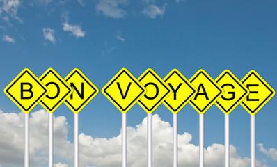 Bon voyage road sign style