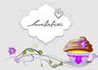 Einladung  Floral mit Muffin