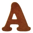 Leather alphabet. Leather textured letter A