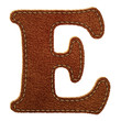 Leather alphabet. Leather textured letter E