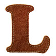 Leather alphabet. Leather textured letter L