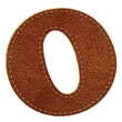 Leather alphabet. Leather textured letter O
