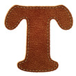 Leather alphabet. Leather textured letter T
