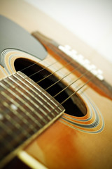 Closeup of acoustic guitar