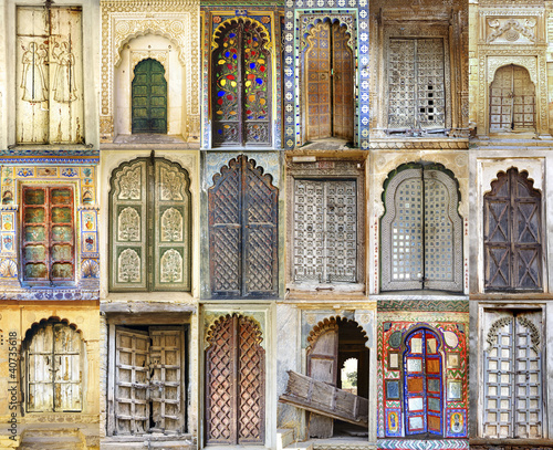 Collage of the ancient Indian doors