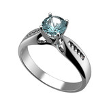 Ring with diamond isolated. Swiss blue topaz. aquamarine. Grandi