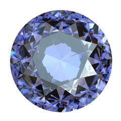 Round blue gemstone on white background.  Benitoit. Sapphire. Io