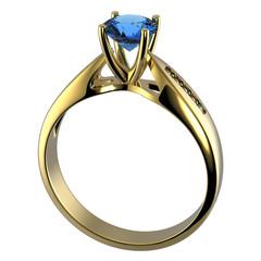 Ring with diamond isolated. Swiss blue topaz. aquamarine. Grandi