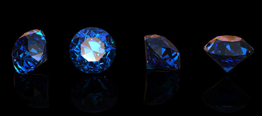 Round blue gemstone isolated on black background.  Benitoit. Sap