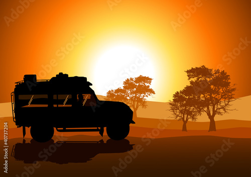 Vector illustration of sport utility vehicle (SUV) on off road
