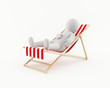 3D man relaxing on a beach chair