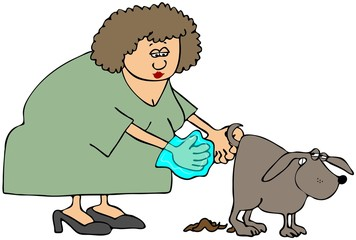 Woman Picking Up After Her Dog