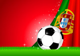 Vector illustration of a soccer ball with Portugal insignia poster
