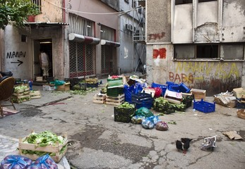 Alley with a garbage and vegetables in Istanbul, Turkey