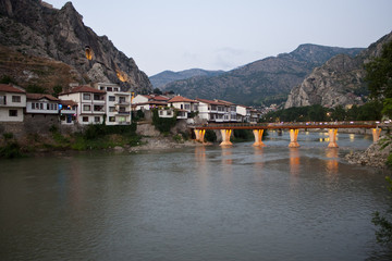 Ottoman houses and bridge at evening, Amasya, Turkey