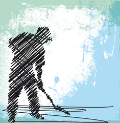Abstract sketch of Worker digging with a shovel. Vector