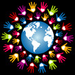 Colorful world peace and unity vector.