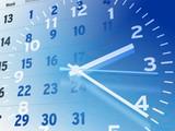 Fototapety Kalender und Uhr, blau