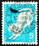 Postage stamp Switzerland 1966 Ermine, Mustela Erminea, short-ta poster