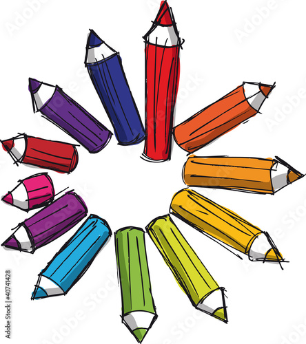 Sketch of colored pencils of various lengths. Vector