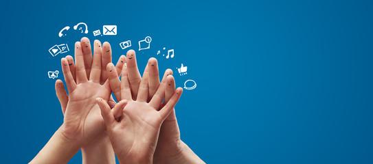 Fingers representing a social network.