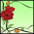 original art nouveau frame with poppies