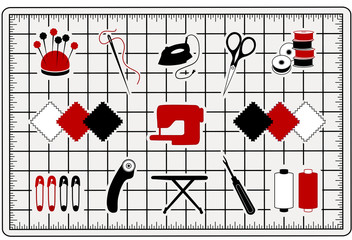Quilting, Patchwork, Sewing Icons on Cutting Mat