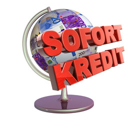 3D Geldglobus - SOFORT KREDIT