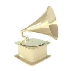 Golden Gramophone Isolated on White