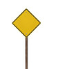 Tall Blank Isolated Caution Sign with Wood Post
