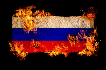 Russian flag in fire.