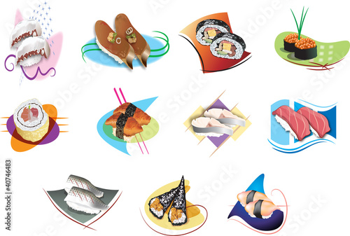 illustration of isolated Set of sushi