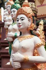 Apsara sculptures at Cambodian temple