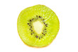 A single slice of kiwi fruit isotated on a white background