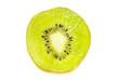 A single slice of kiwi fruit isotated on a white background