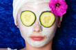 Cucumbers on the eyes with a facial mask