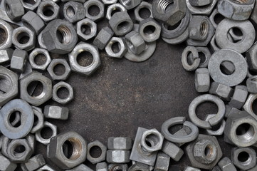 Nuts and washers exposure in a steel frame