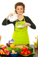 Woman using mixer