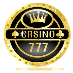 Casino button with crown