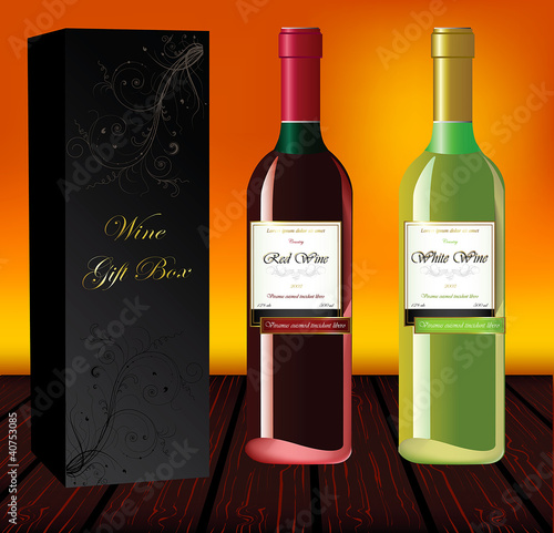 Set of red and white wine with gift box