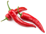 Three red hot chili pepper isolated on a white background - 40754068