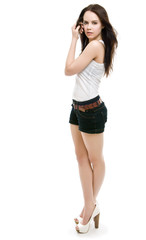 The girl in shorts standing