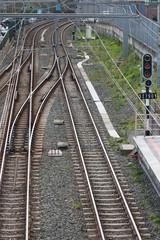 Bifurcación de raíles en las vías de tren