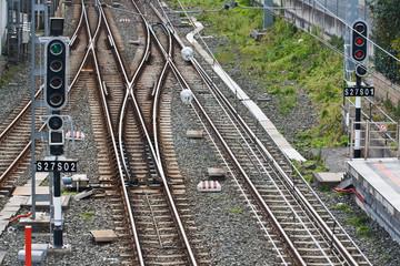 Vías del tren con bifurcación