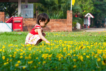 Asian little girl in green Lawn