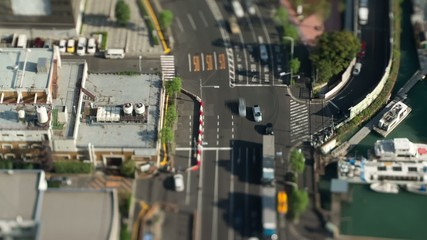 交差点と水路. Miniature Time lapse