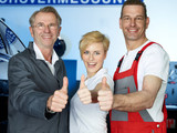 Master mechanics and customer show thump up