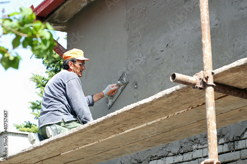 Plasterer Working